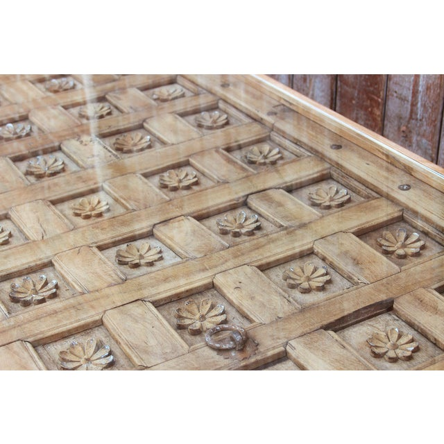 Lotus Carved Niraj Ceiling Panel Dining Table For Sale - Image 4 of 7