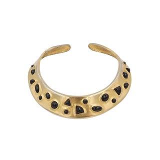 1980s Les Bernard Faux-Onyx Cabochon Collar Necklace For Sale