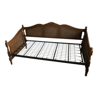 French Country Horchow Caned Twin Size Sofa Bedframe For Sale