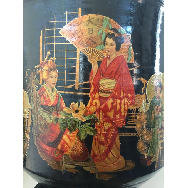 Pair of Large Chinoiserie Style Urns or Vases on Pedestals of Glazed Terracotta - Image 3 of 8