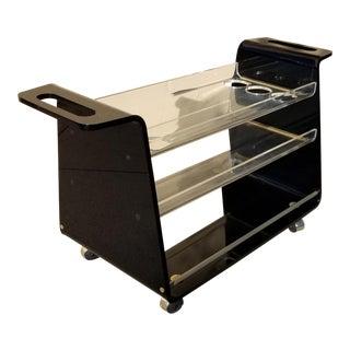 Lucite & Brass Bar Cart For Sale