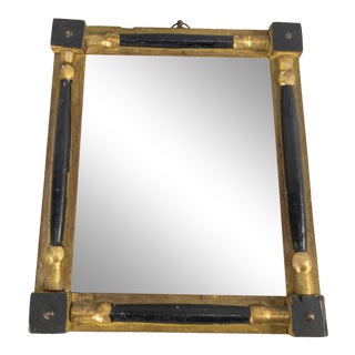 Late 18th Century Federal Style Black and Gilt Wood Decorative Accent Mirror For Sale