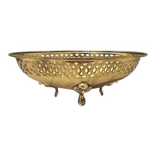 Vintage Pierced Brass Decorative Bowl For Sale