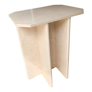 1980s Modern Marble Pedestal Dining Table With Glass Top For Sale