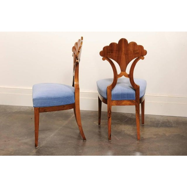 Pair of Austrian Biedermeier Fan Back Chairs with Light Blue Upholstery, 1840 - Image 5 of 10