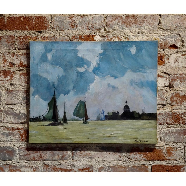 Blue Karl Brenner - View of Istanbul -Oil Painting - C1910s For Sale - Image 8 of 8