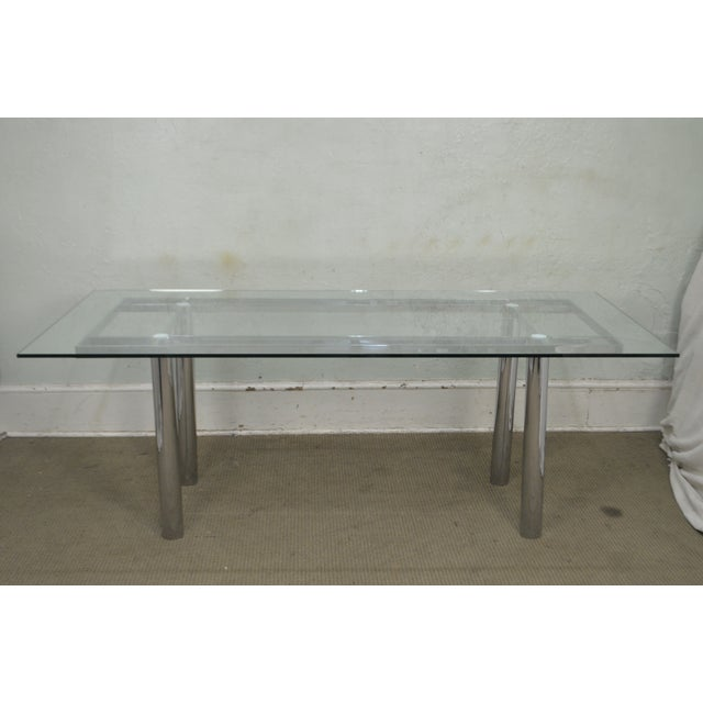 Mid Century Modern Chrome Base Rectangular Glass Top Dining Table For Sale - Image 4 of 13