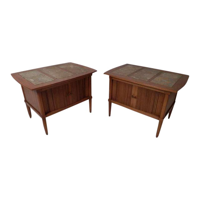 Marble Top End Tables With Tambour Doors - a Pair For Sale