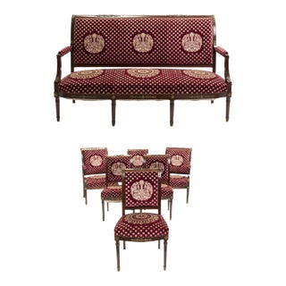 Late 19th Century Vintage Empire-Style Sitting Furniture Set- 7 Pieces For Sale