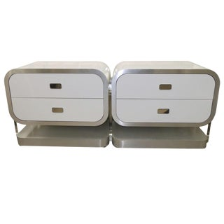 Vintage White Laminate, Lucite & Brushed Chrome Waterfall Dresser