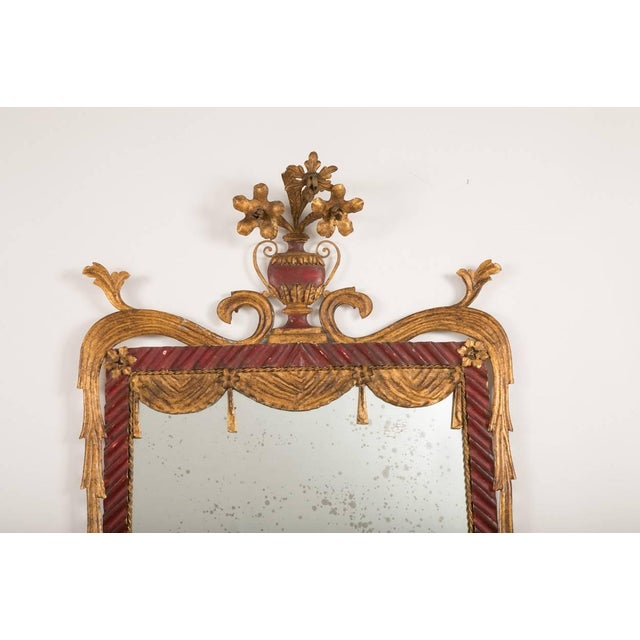 Metal Dorothy Draper Style Red and Gilt Tole Mirror For Sale - Image 7 of 8