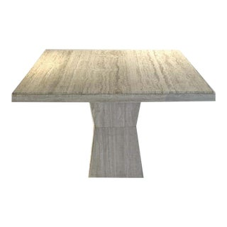 1970s Maurice Villency Square Travertine Dining, Game, or Center Table W Sculptural Detail For Sale