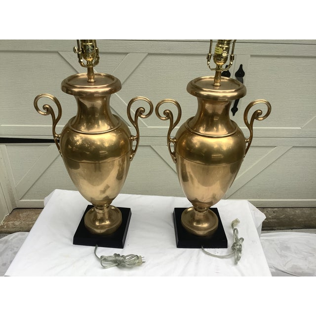 Hollywood Regency Chapman Brass Urn Lamps, a Pair For Sale - Image 3 of 12