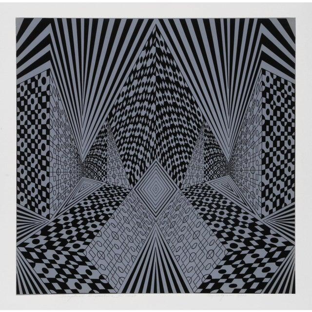 """Op Art 1960s Roy Ahlgren, """"Conceptual Perspective Ii"""", Op Art Screenprint For Sale - Image 3 of 3"""