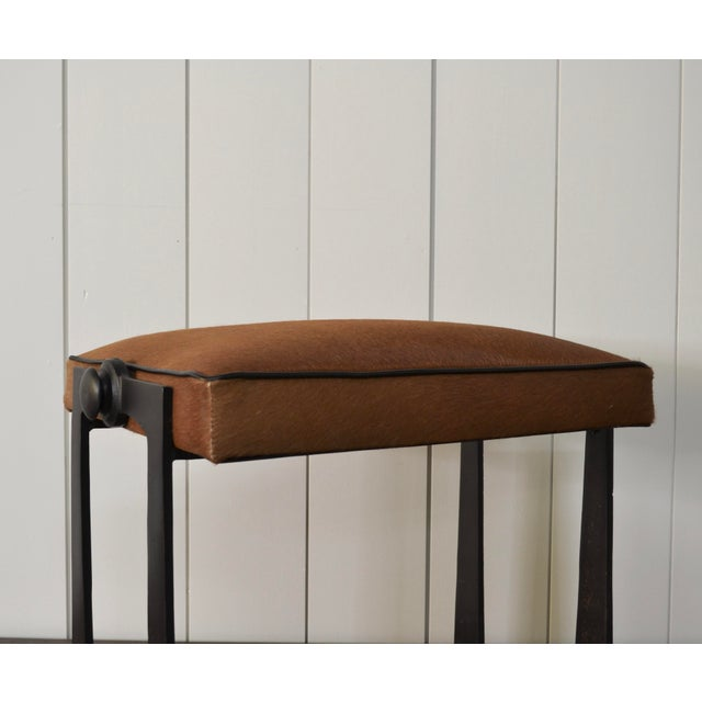 Modernist Iron and Leather Hair on Hide Stool For Sale In Providence - Image 6 of 8