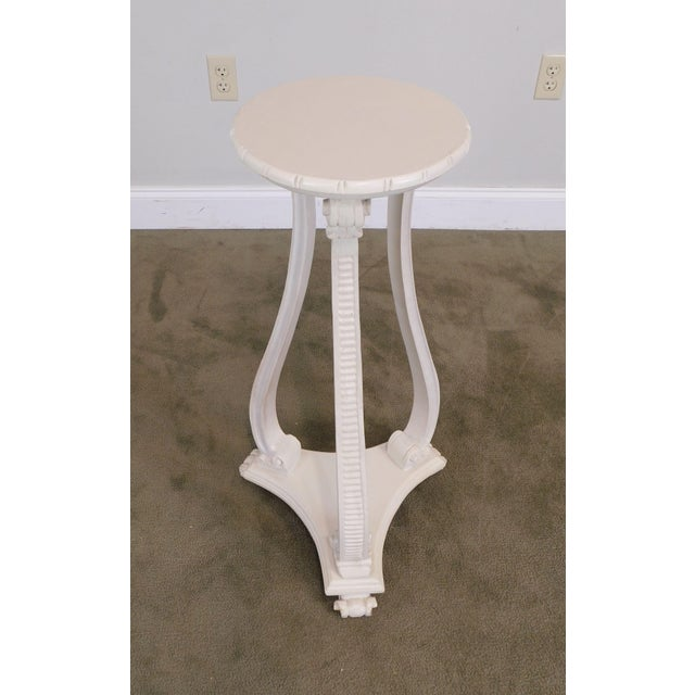 Hollywood Regency Vintage Pair White Washed Lacquer Italian Pedestals For Sale In Philadelphia - Image 6 of 12
