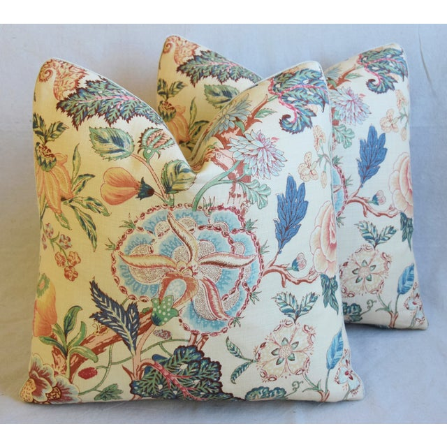 """Cotton Travers Tree-Of-Life Linen Feather/Down Pillows 22"""" Square - Pair For Sale - Image 7 of 13"""