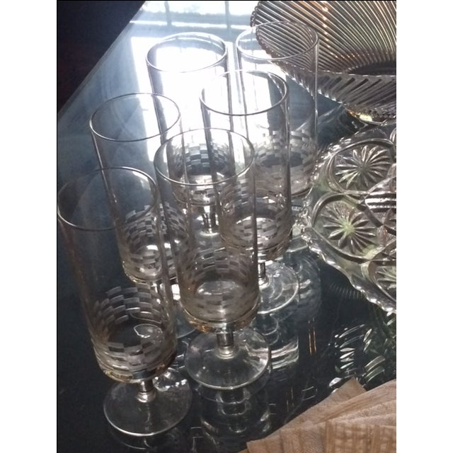 MCM Geometric Etched Champagne Flute Set - 6 - Image 7 of 8