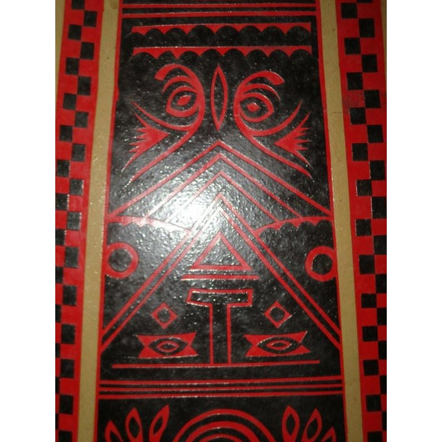 Mexican Lacquerware Magazine Stand With Aztec Designs For Sale - Image 12 of 13