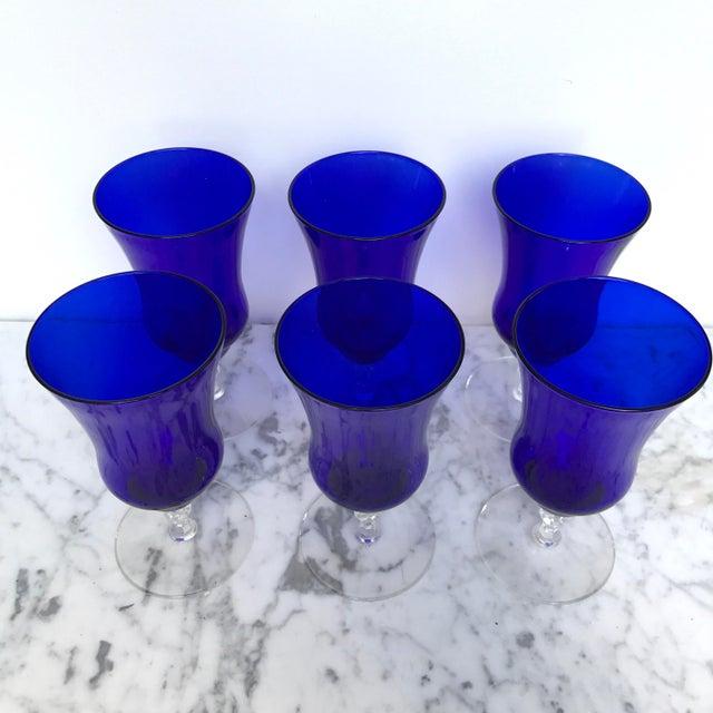 Vintage Cobalt Blue Wine Glasses - Set of 6 - Image 6 of 6
