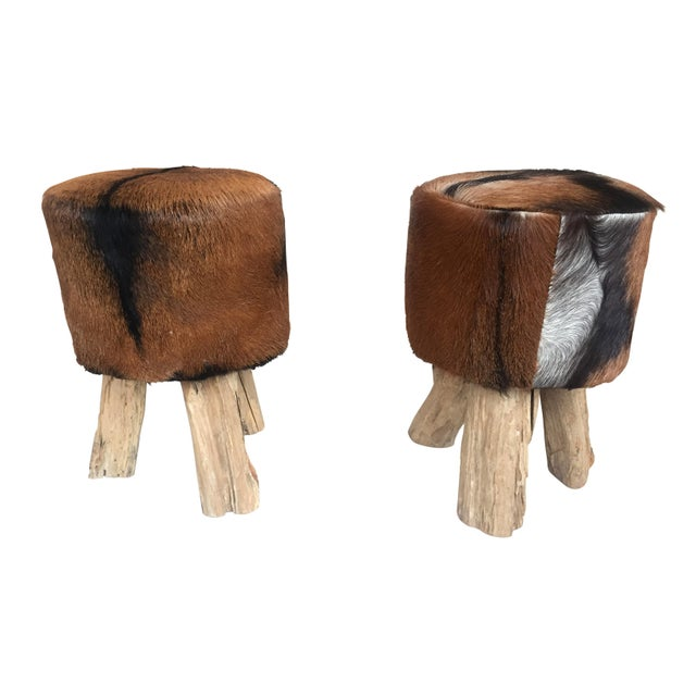 1970s Primitive Nubuck Hide Stools - a Pair For Sale In Chicago - Image 6 of 7