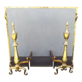 Vintage Brass Fireplace Screen & Large Andirons