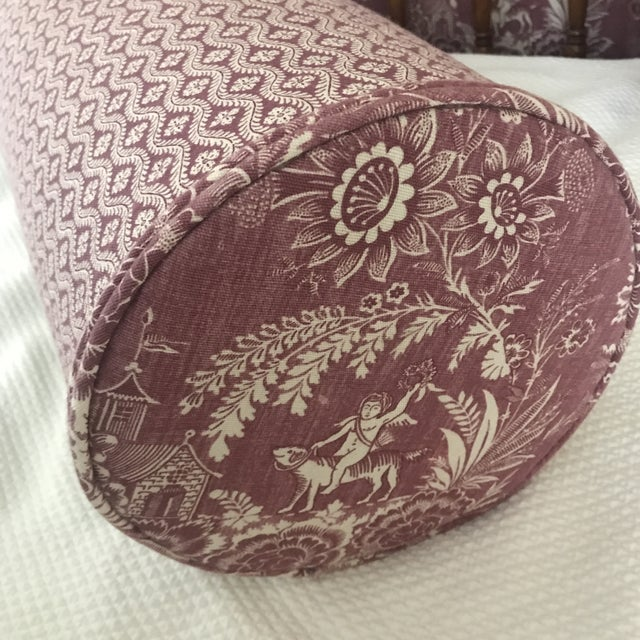 Shabby Chic Pierre Deux Floral Custom Neck Bolster Pillows - a Pair For Sale - Image 3 of 13
