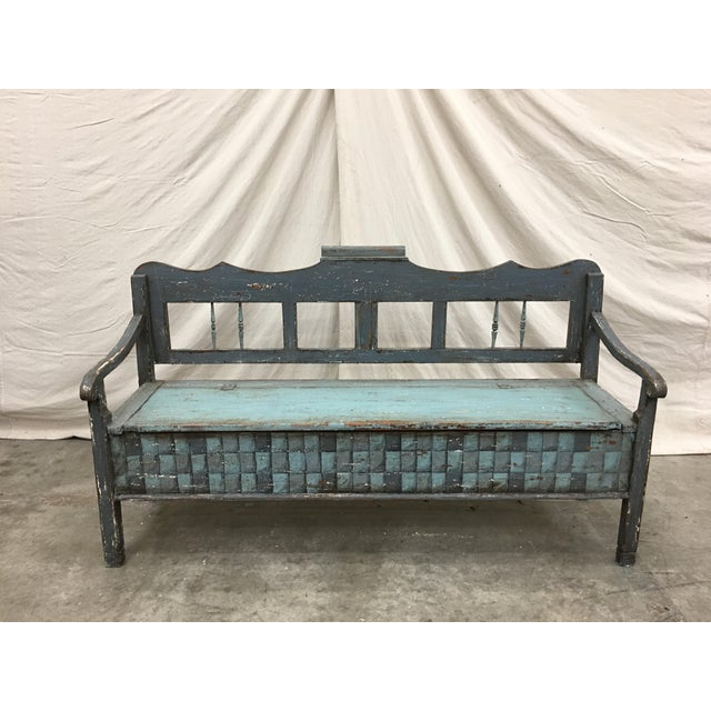 19th C Scandinavian Painted Hall Bench With Storage For Sale In Austin - Image 6 of 11