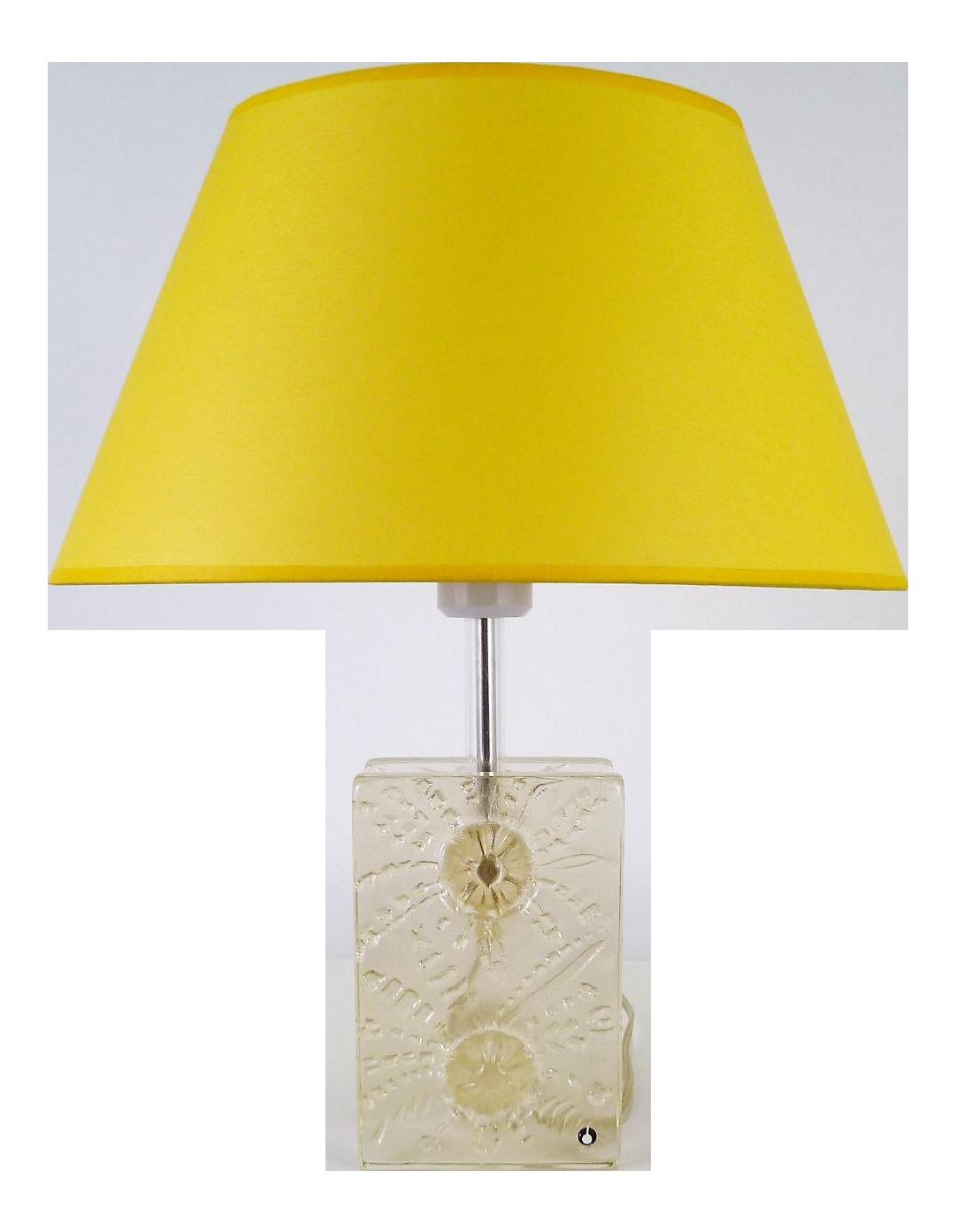1960s Swedish Modern Pukeberg Ice Glass Table Lamp