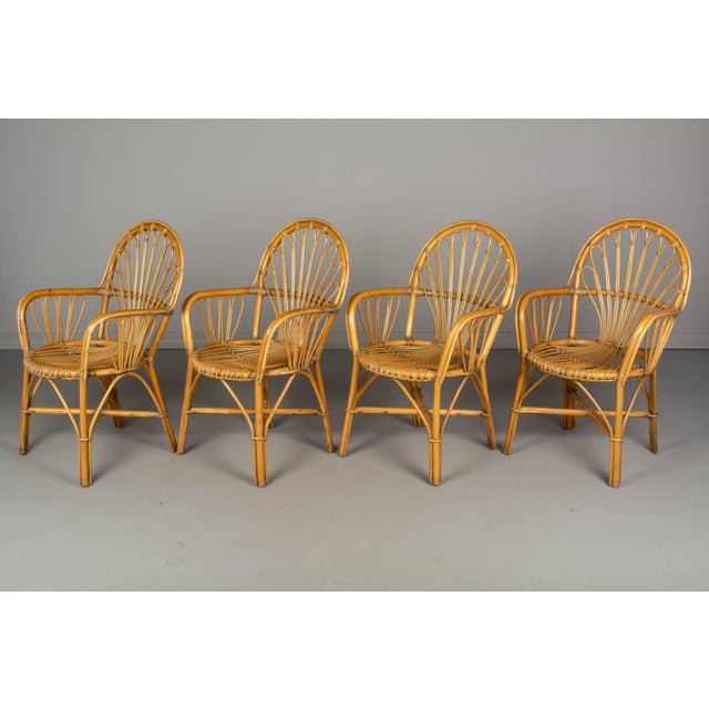 A set of four Mid Century French Riviera bamboo and rattan arm chairs attributed to Audoux-Minet. Sturdy chairs with small...