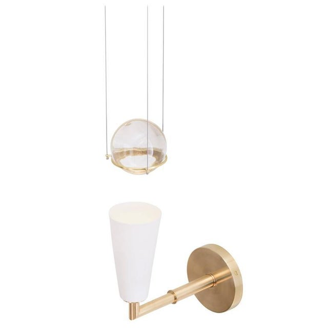 Gold Contemporary Grace White Porcelain Shade and Suspended Glass Sphere Brass Sconce For Sale - Image 8 of 9