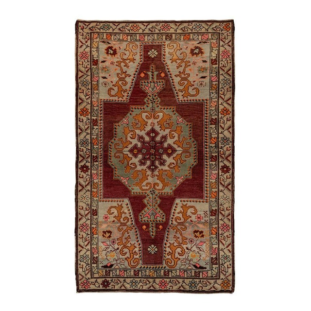 Islamic Vintage Red Turkish Area Rug 4'x7' For Sale - Image 3 of 5