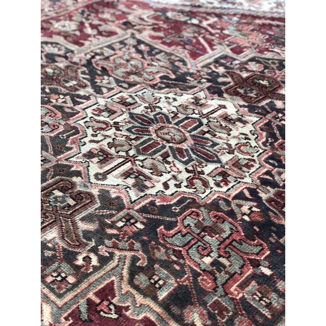"""Brown 1930's Vintage Persian Heriz Large Area Rug 9'2""""x10'7"""" For Sale - Image 8 of 13"""