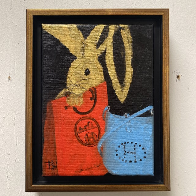 """Bunny With Blue Hermès"" Contemporary Acrylic Painting, Framed For Sale - Image 4 of 11"