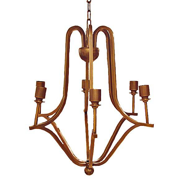 A vintage Jean Royere style patinated metal six light chandelier with shades. Condition is excellent.