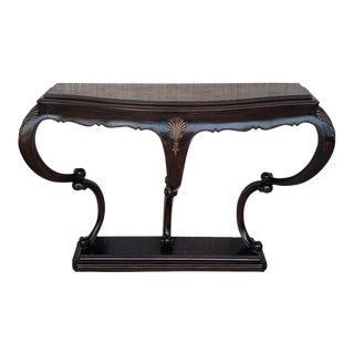 20th French Century Marble Wall Mounted Top Walnut Console Table With Drawer For Sale