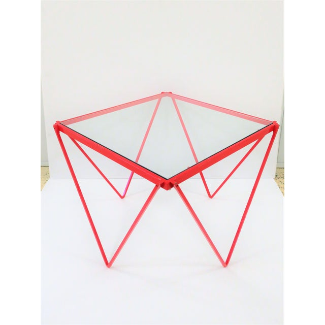 Minimalism 20th Century Modern Red Enamel Side Table For Sale - Image 3 of 13