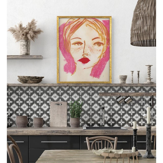 Contemporary Camille Art Print in Walnut Frame For Sale - Image 3 of 3