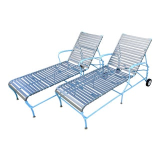 Mid Century Modern Outdoor Patio Lounges / Chaises in Aluminum & Vinyl For Sale