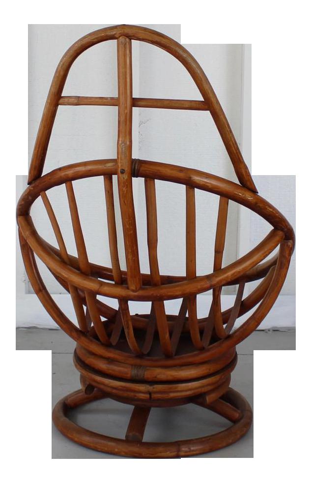 Vintage Boho Rattan Swivel Chair 112a