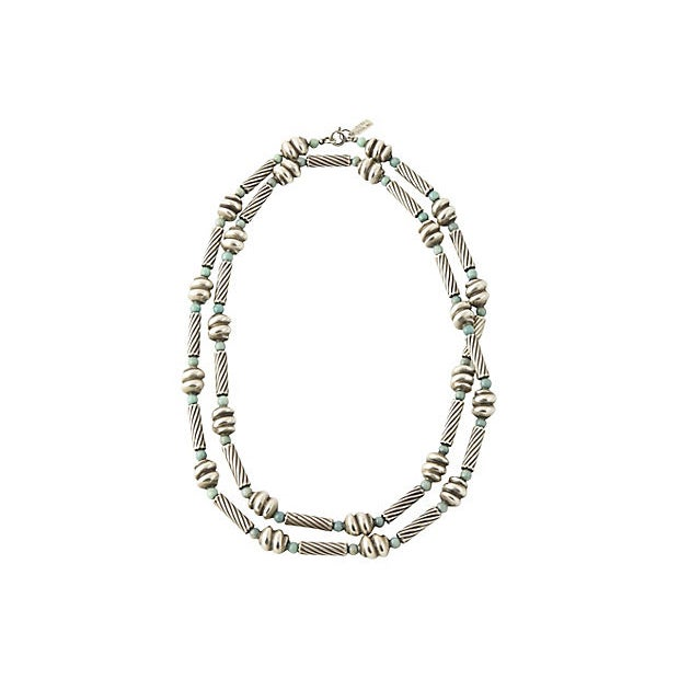 """Mid-Century Modern Sterling & Chrysoprase 33"""" Necklace For Sale - Image 3 of 4"""