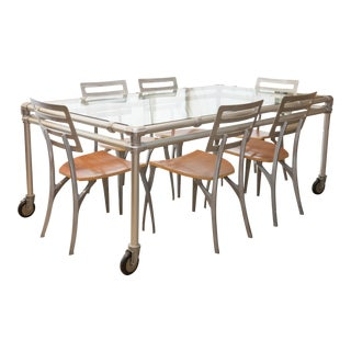 Industrial Modern Dining Table & Chairs - Set of 7