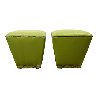 Custom Green Leather Ottomans - a Pair