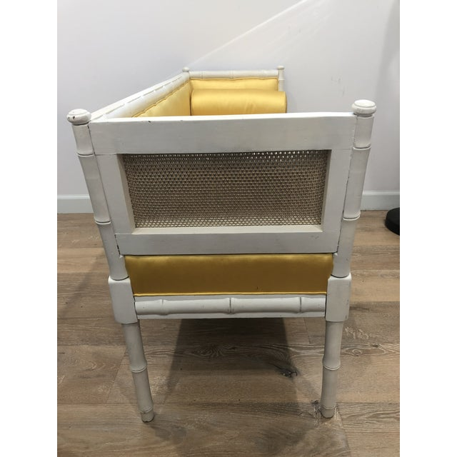 Vintage Mid-Century Faux Bamboo & Gold Satin Bench For Sale - Image 4 of 9