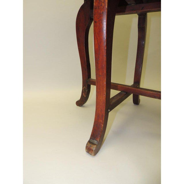 Round Asian Side Table With Carved Apron and Turned Wood Legs For Sale - Image 4 of 8