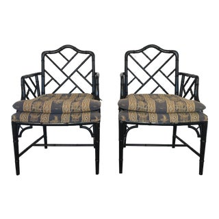 Black Faux Bamboo Chairs - a Pair For Sale