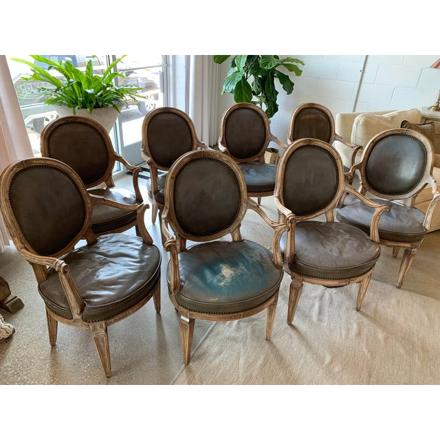 Vintage Mid Century Don Rousseau Louis XVI-Style Leather Upholstered Carved Beechwood Fauteuils - Set of 8 For Sale In Dallas - Image 6 of 6