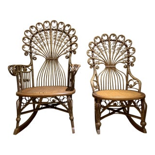 Victorian Wicker Rocking Chairs by Heywood Brothers & Wakefield Company - A Pair For Sale