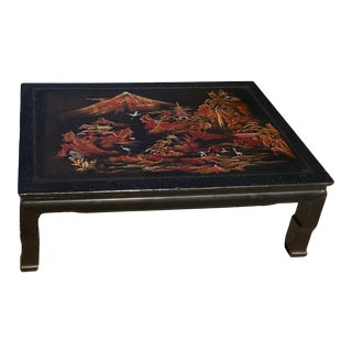 Vintage Chinoiserie Black Laquered Coffee Table For Sale