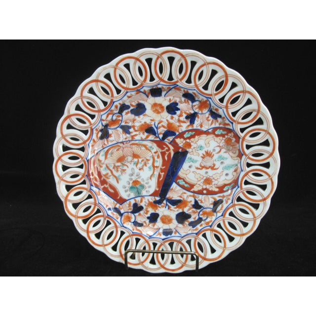 Late 19th Century Hand Painted Japanese Imari Pierced Dish Plate With Fan & Floral Design For Sale - Image 5 of 5